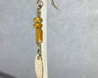 Oregon Fire Opal Dangle Earrings