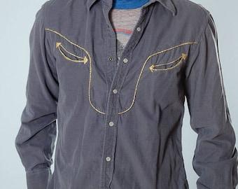 Large Men's Gray Corduroy Vintage Shirt 4BB