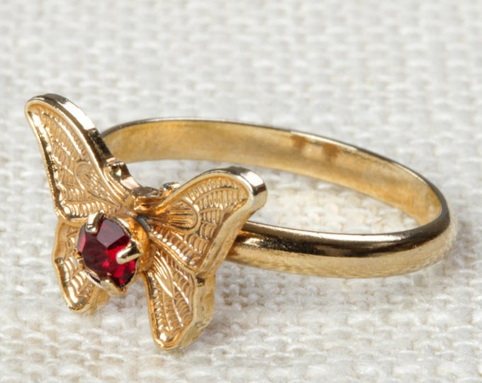 Vintage Butterfly Ring Dark Red Rhinestone Small Adjustable XS or Child's Size Vintage Ring Gold Butterfly Adjustable 16R