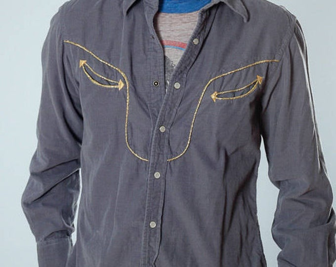 Large Men's Gray Corduroy Vintage Shirt 4BB