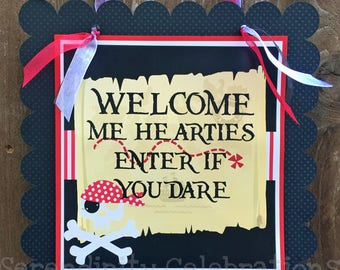 Pirate Party Sign, Skull Door Sign, Pirate Skull Birthday, Baby Shower, Welcome Sign, Door Sign, Photo Prop, Enter if you dare, Pirates only