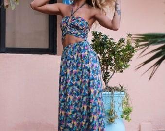Boho beach dress, Tropical maxi dress with cutouts, palm trees