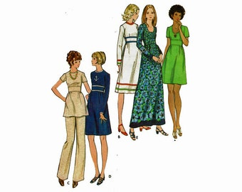 Dress Tunic & Pants Uncut Vintage Sewing Pattern Size 14 Bust 36 With Fitted Midriff and neckline options Maxi dress Butterick 6601