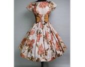 Vintage 1950s Dress//50 Dress//Floral//Rockabilly//Full Circle Dress//New Look//Mod//Garden Party//50s Party Dress//Jr. Theme