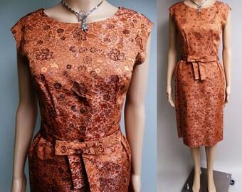 Vintage 1950s Dress | Copper Brocade Dress | Wiggle Dress | 50s Dress | Cocktail Dress | Party Dress | 1950s Wiggle Dress |
