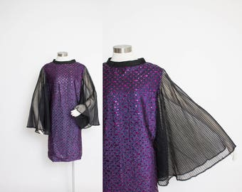 Vintage 60s Dress - Purple Sequin Lame Sheer Chiffon Angel Sleeve Cocktail Party Shift - Large