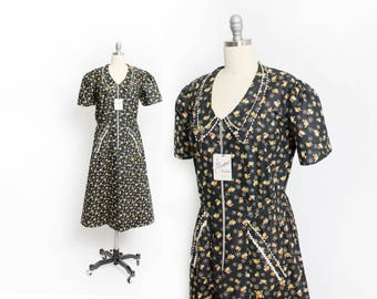 Vintage 1940s Dress - NOS Cotton Floral Day House Dress Unworn Plus Size - XL Extra Large