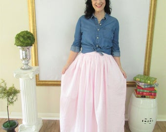 Pink Seersucker Midi Skirt, Mini Skirt or Maxi Ball skirt  full, gathered skirt all sizes custom made to order