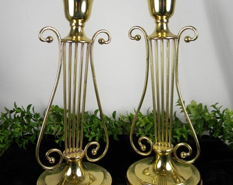 Candlesticks Large Brass Vintage taper candle holder  - Solid Brass Candle Holders - Harp Design - Set of 2