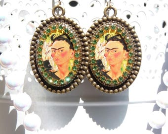 FREE SHIPPING Frida Kahlo Handmade Resin Dangle Earrings - Mexican Folk Art - Frida Earrings - Frida Jewelry - Spring Jewelry - Vida
