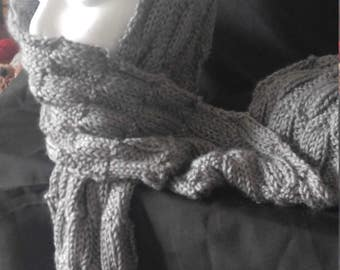 Fashionable but practical, hand knitted grey scarf , designed by justaskjackie.