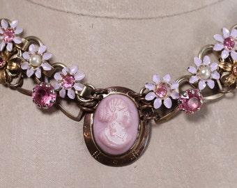 Blush- Antique Victorian Glass Cameo Assemblage Necklace- Pink, White, Lavender- Enamel, Rhinestones, Goldtone, gold filled