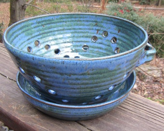 Ceramic Berry Bowl with Plate, Dish, Fruit Bowl, Colander, Strainer, Hand Thrown Pottery, Turquoise & Midnight Blue Glaze