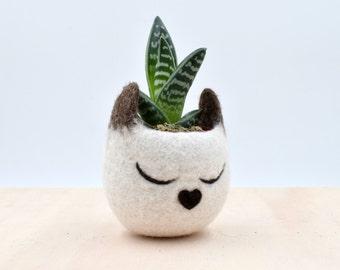 Succulent planter / Siamese cat mini planter /  Cat head planter / indoor planter / Small succulent pot / cat lover gift / gift for her