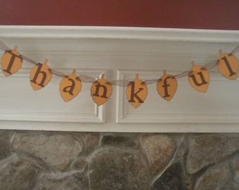 Thankful Banner, Thankful Garland, Thankful, Garland, Banner, Photo Prop, Leaves, Holiday Decoration, Thanksgiving Decoration