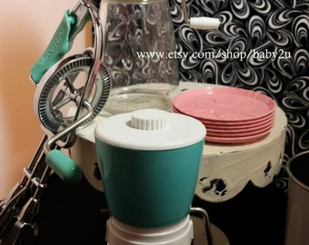 One Vintage Pink and One Vintage Turquoise White Federal Housewares Nut Grinders circa 1970s