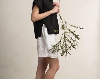 Black women's blouse, Black linen top for women, Black linen clothes by LHI