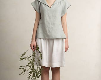 Dove grey blouse, Linen women's top, Natural short sleeve shirt, Linen tops, Light grey linen clothing for woman by LHI
