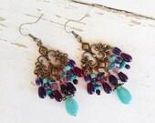 Colorful bohemian earrings, Bohemian gypsy hippie long antique gold turquoise red purple chandelier earrings