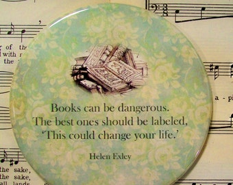 Book Lover's Magnet, Helen Exley Quote, Large Magnet, Books can be Dangerous..., Book Lover's Gift, Book Club Favors