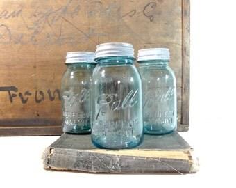 Vintage Blue Mason Jars / Ball Glass Mason Jars Set / Rustic Storage