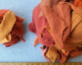 Cashmere Recycled Remnants - Reddish Orange to Light Tangerine for DIY Crafts and Projects - Choose Bundle Size