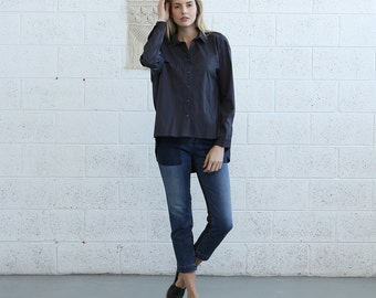 Button down  Cotton blouse, Dark Grey.