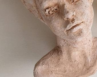 Head planter, Woman bust, Head sculpture, terracotta pot, Outdoor statue