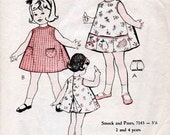 1960s Toddler's Smock Dress & Pants Pattern Australian Home Journal 7143 Child's Vintage Sewing Pattern Girl's A Line Dress Size 2