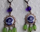 Reserve for RH :)  Rembrandt Earrings - Delft, art earrings, blue/white/green