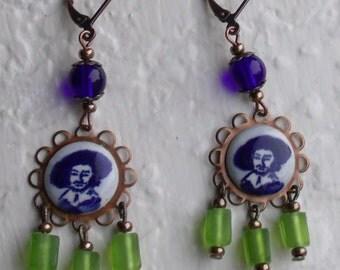 Rembrandt Earrings - Delft, art earrings, blue/white/green