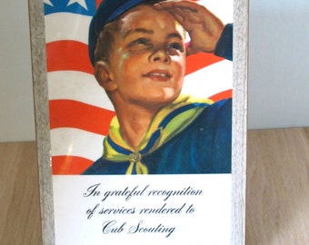Cub Scouts Vintage Wooden Recognition Plaque