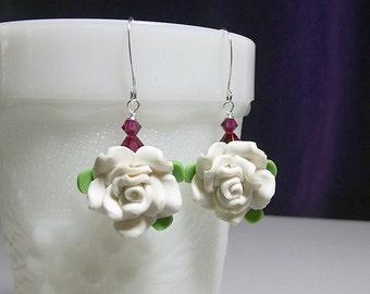 Swarovski White Rose Fuchsia Red Crystal Earrings, Christmas Gift, LAST ONES Mom Sister Birthday Gift Girlfriend Wife Sister Gift Bridesmaid
