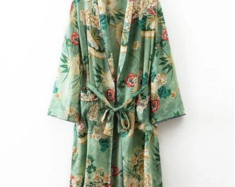 Women Vintage Floral Kimono Cardigan Loose Beach Blouse Tops Full Moon Kimono, Floral jacket, Japanese kimono, Blue kimono