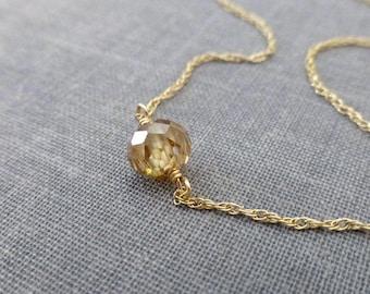 Diamond Necklace, Champagne Diamond, Diamond Jewelry, Wedding Necklace, Diamond Rondelle, Gold Diamond, Cognac Diamond, April Birthstone
