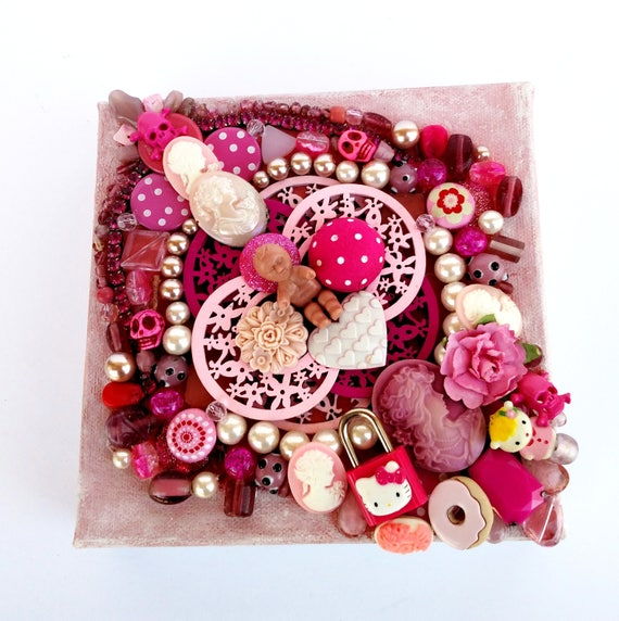 Pink Treasure Canvas - Mixed Media Miniature Canvas