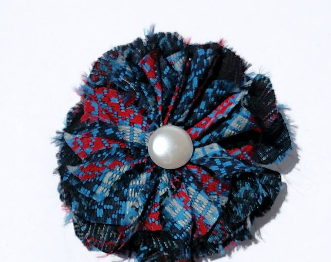 Recycled Vintage Necktie Fabric Flower Clip Pin  - Blue, Red and Black
