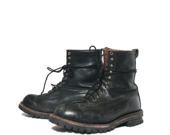 10 1/2 | Men's Black Leather Tactical Boots Heavy Duty Chippewa Leather Ankle Boots