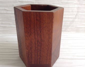 Office Desk Pencil Holder.  Vintage 1960.  Wood.  Modern Panton Eames era. Mid century.  Danish Modern.