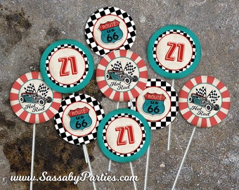50s Garage Party Circles, Favor Tags, Cupcake Toppers - INSTANT DOWNLOAD - Editable & Printable Birthday Party Decor by Sassaby Parties