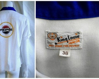 Vintage 1950's Rayon Bowling Shirt Woman's X Large King Louie Pepsi Logo Patch Top Loop