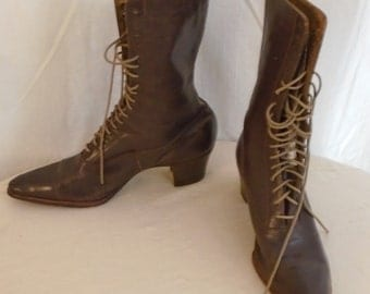 Vintage 1900s Boots Victorian Brown Leather Lace Up Shoes High Top Shoes 1900s Wing Tip