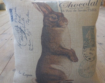 Chocolate Rabbit Burlap Pillow, Farmhouse Pillows,  Spring,  Easter, INSERT INCLUDED