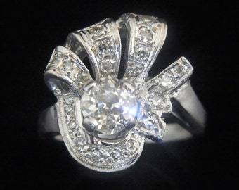 Old Hollywood Glamour 1.2ct Diamonds 14k White Gold Ring Vintage Mid Century