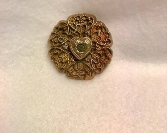 Handcrafted Bronze Pendant with Natural Peridot Gemstone