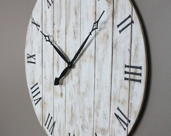 "Farmhouse Style Round Wall Clock. Variable Sizes: 18"" to 36"" Shabby Chic Distressed.New Pine Made to look like reclaimed pallet or barn wood"