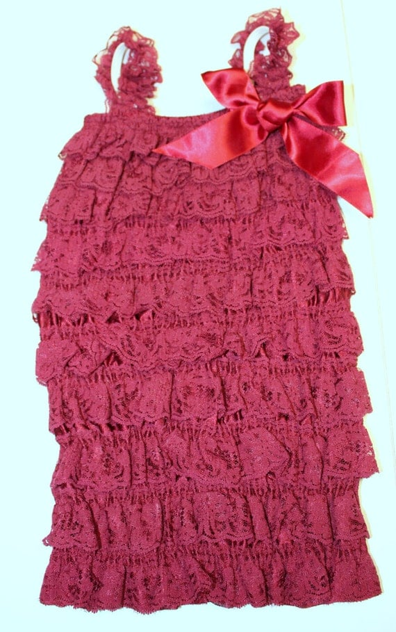Burgundy Baby Romper,Lace Romper,Girls Romper,Ruffle Romper,Petti Lace Romper,SIZE MEDIUM ONLY,Girls 5-10 Month Clothing,Baby Girl Outfit