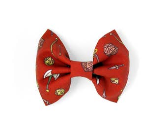 Tabletop RPG Hairbow - Dungeons and Dragon Hair Bow / RolePlay Game D20 Pattern / Cotton Fabric Hairbow / Large Red Hairbow / Geek Girl Gift