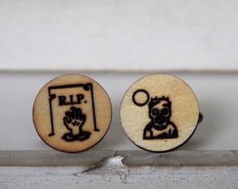 Zombie Cufflinks Walking Dead Cufflinks RIP Tombstone Cufflinks Wooden Accessories