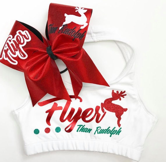 NEW FLYER than RUDOLPH Holiday Sports Bra & Bow - cheer dance gymnast dancewear  girls child woman adult teen christmas flyer cheerleader